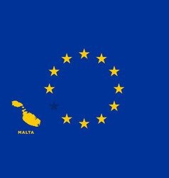 Eu flag with malta country european union vector