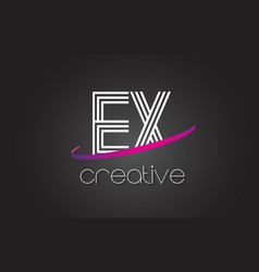 ex e x letter logo with lines design and purple vector image