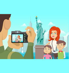 family photo in new york vector image