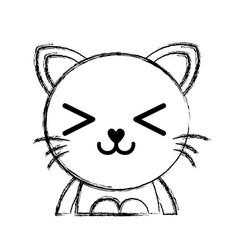 Figure happy cat adorable feline animal vector