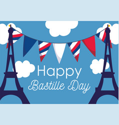France eiffel towers with banner pennant happy vector