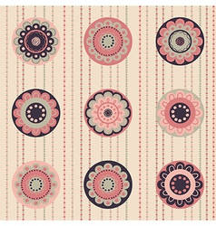 Geometrical pattern with flowers dust-rose color vector