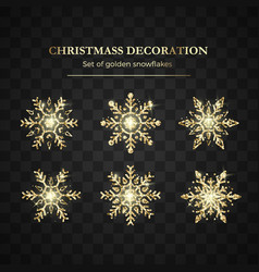 golden snowflake christmas decoration element vector image