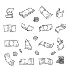 hand drawn money argent coins finance capital vector image