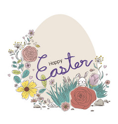 happy easter design of flowers and rabbit vector image vector image
