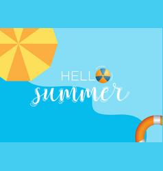 hello summer blue background vector image