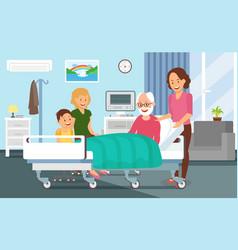 Hospital discharging flat vector