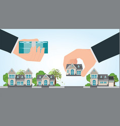 Human hand holding right house and money vector
