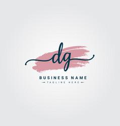 Initial letter dg logo - handwritten signature vector