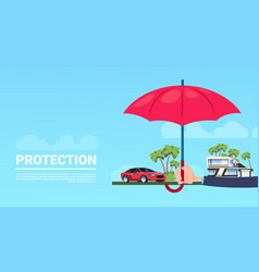 insurance service hand umbrella protective house vector image