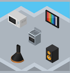 Isometric electronics set of music box television vector