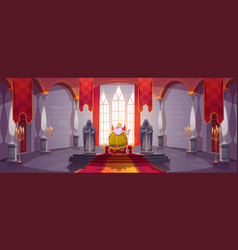King in gold crown on throne in medieval castle vector