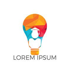 light bulb and student logo design vector image
