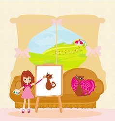 Little artist girl painting cat on large paper vector image