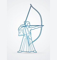 man bowing kyudo archer sport man vector image