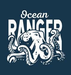 marine octopus or kraken nautical sea devil vector image