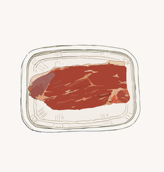Meat in pack supermarket set sketch vector