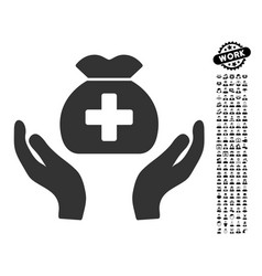 Medical fund care hands icon with professional vector