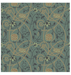 Medieval flowers pattern dark vector