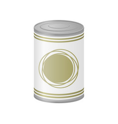 Metal can of preserved food vector