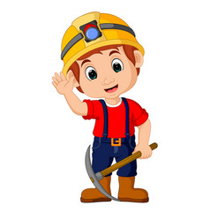 Miners boy cartoon vector
