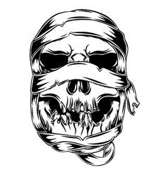 mummy skull with messy shroud for the vector image