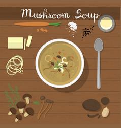 mushroom soup food vegetarian creamsoup vector image