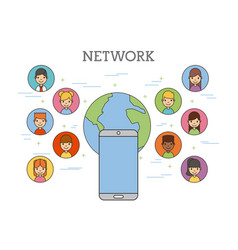 Network people scenary vector