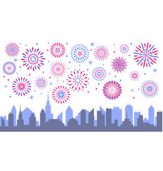 night city fireworks celebrated festive vector image