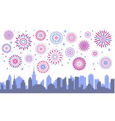 night city fireworks celebrated festive vector image