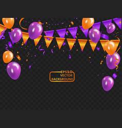 orange purple balloons confetti concept design vector image