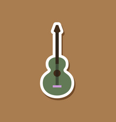 paper sticker on stylish background guitar vector image