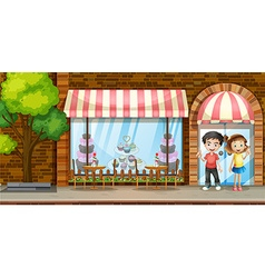 People hanging out at the bakery shop vector