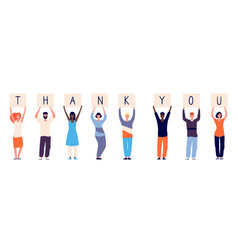 people holding thank you woman man standing vector image