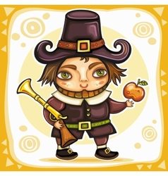 pilgrim boy vector image