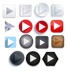 play icon set on white background Eps10 vector image