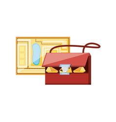 Post bag with city map vector