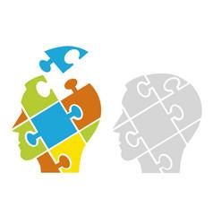 Puzzle male heads psychology concept vector