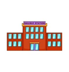 Railway station icon cartoon style vector