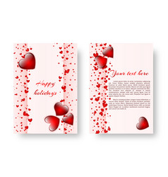 romantic background with red hearts vector image