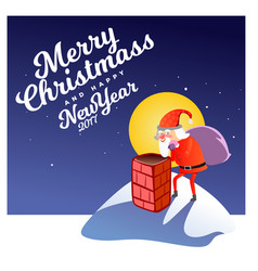 santa claus man in red suit and beard with bag of vector image