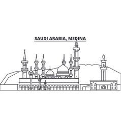 Saudi arabia medina line skyline vector