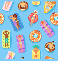 seamless pattern happy people and swimming on vector image