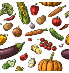 seamless pattern vegetables cucumbers garlic vector image