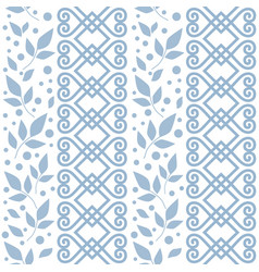Seamless pattern with blue ornament leaves vector