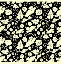 Seamless pattern with the image of hop plant vector