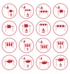 Set of cooking on campfire icons vector