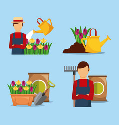 set of gardener with flowers tools fetilizer vector image