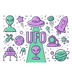 set of icons and on the subject of ufos vector image
