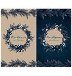 Set of two greeting cards vector image